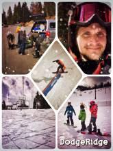 Dodge Ridge Ski Resort - getting a sunburn on my first snowboarding experience in North America
