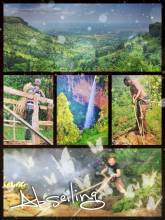 Abseiling - walking and jumping down 100 meters next to the main Sipi waterfall