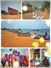Ujiji - fooling around with a horde of children and drinking a cold coke at the beach