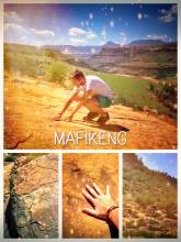 Mafikeng Dinosaur Footprints - dancing with local children before camping with a horde of crazy bikers