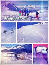 Brüggerhorn - riding down on fresh powder snow with the last sunshine of the day in Arosa