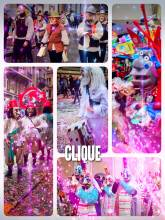Clique (Drummle und Pfyffe) - a group of lay musicians marching and playing songs on drums and pipes