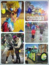 Waggis - wild characters with a huge nose, standing on a wagon, distributing sweets