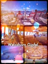 Weisshorn Gipfel - eating with a stunning 360° panorama on the highest mountain peak in Arosa