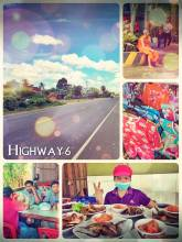 Highway 6, Cambodia - driving on a nice public bus from Phnom Penh to Siem Reap