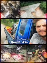 Honda Win Repair - breaking my precious bike after a few meters on bad Laotian roads