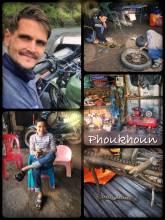Mechanics in Phoukoun - pitstop in a small workshop to fix my broken Honda Win again