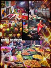 Luang Prabang Night Market - admiring lovely Laotian artwork and having a delicious local dinner
