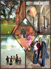 Sixty Dome Mosque - the largest 15th century mosque in Bangladesh with 77 domes
