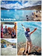 Yamdrok Lake - one of the largest Tibetan sacred lakes with crystal clear water