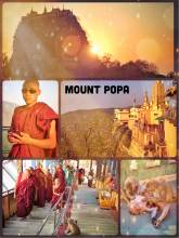 Mount Popa - large volcano in Myanmar with a monastery on a hill and a pilgrim site