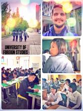 University of Foreign Studies - sitting in an English class and talking with students in a grim building