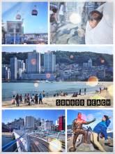 Songdo Beach - crowded beach south of Busan with an air cruise Gondola and a skywalk