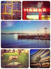 Hamar - first stop in Norway, dining at the border of the country's largest lake