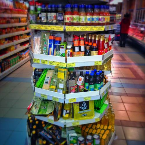 save money by doing groceries like the locals in a shop in Minsk, Belarus