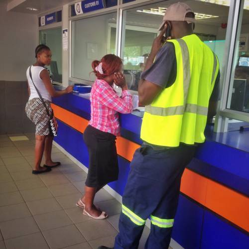 Waiting for the stamp on the border from South Africa into Swaziland
