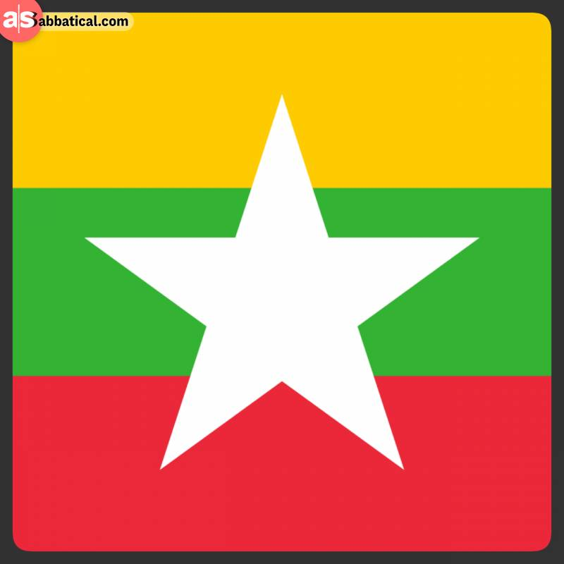 Three coloured flag of Myanmar with a white star